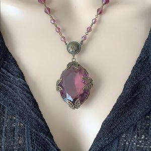 Vintage Czech Large Amethyst-Color Necklace